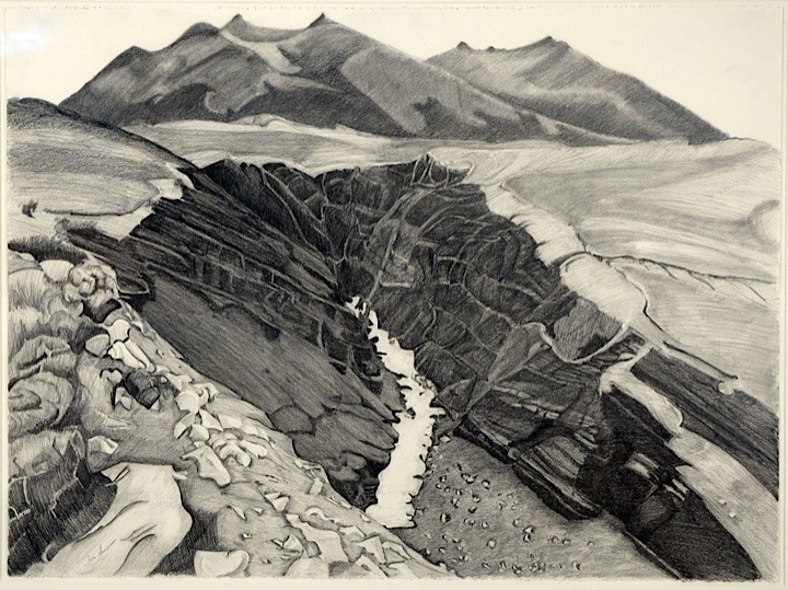 ©1990 Jan Aronson Patagonia Series Gorge Graphite on Paper 23x31