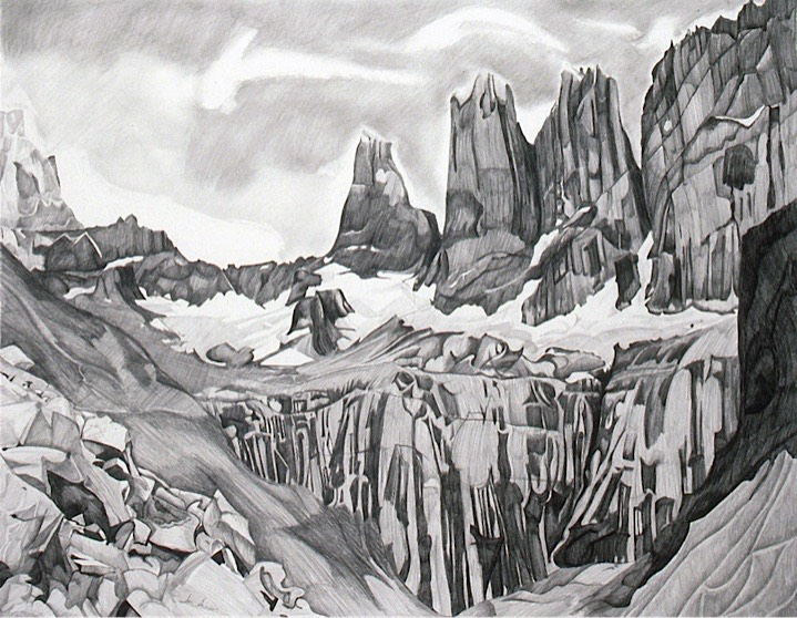 ©1990 Jan Aronson Patagonian Series The Towers Tom's View Graphite on Paper 23x29