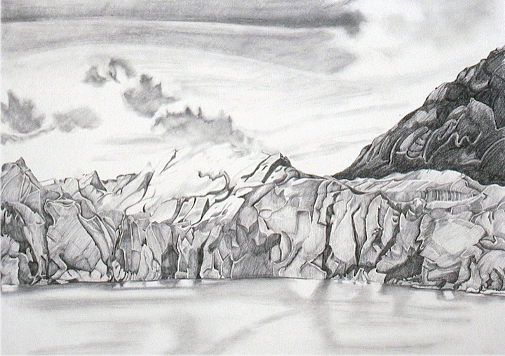 ©1990 Jan Aronson Patagonian Series Grey Glacier #2 Graphite on Paper 23x31