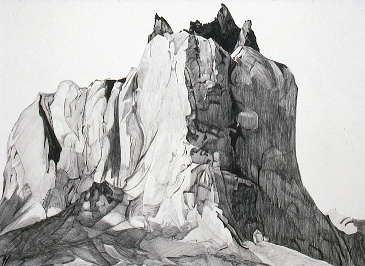 ©1990 Jan Aronson Patagonian Series North Horn Graphite on Paper 23x31