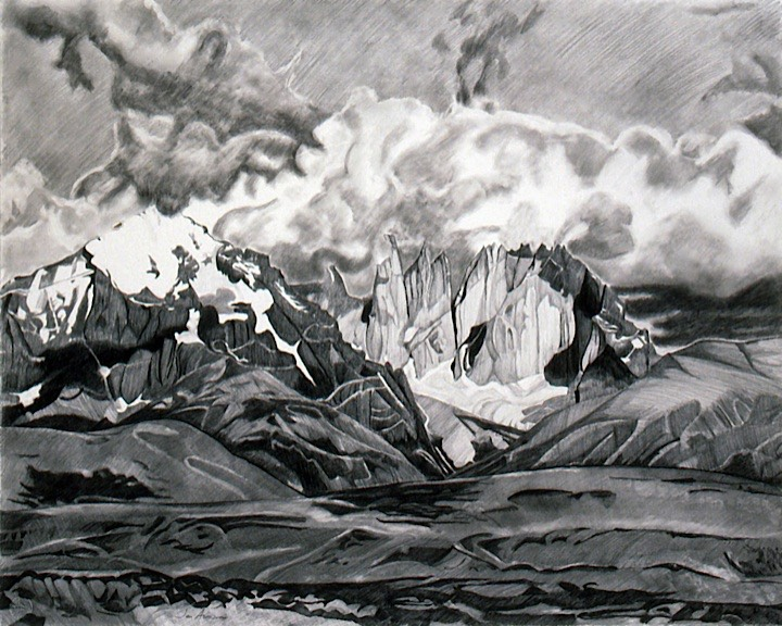 ©1991 Jan Aronson Distant Towers Graphite on Paper 29x23