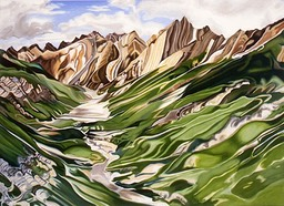©1991 Jan Aronson Himalayan Landscape Oil on Canvas 42X58