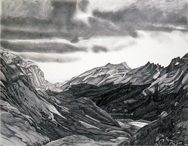 ©1991 Jan Aronson Patagonian Landscape Sara's Choice Graphite on Paper 29x23