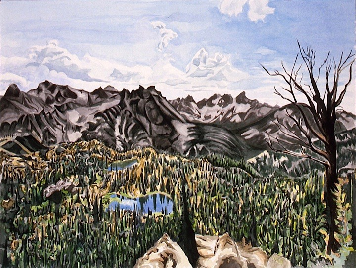 ©1993 Jan Aronson Looking Toward Alpine Lakes Watercolor on Paper 18X24