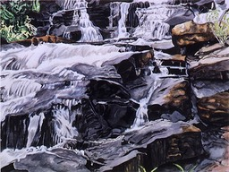 ©1993 Jan Aronson O'Briens Waterfall #3 Watercolor on Paper 18X24