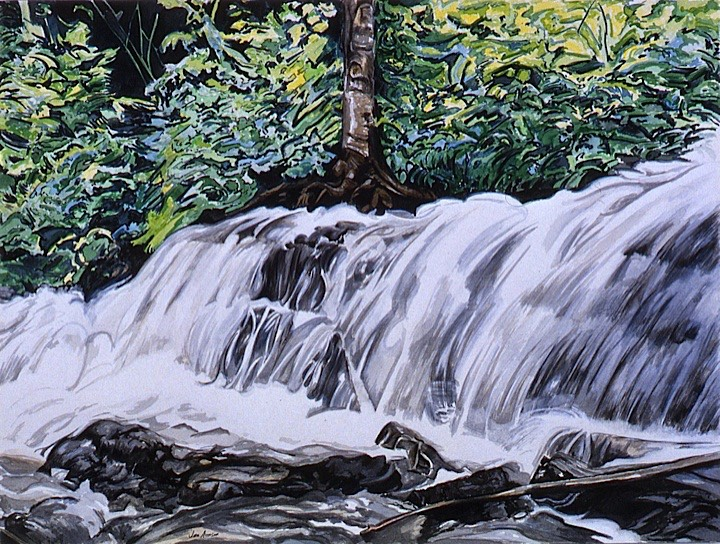 ©1993 Jan Aronson O'Briens Waterfall #2 Watercolor on Paper 18x24