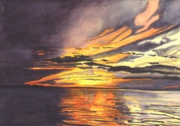 ©1996 Jan Aronson Amazonian Sunset #4 Watercolor on Paper 10x14