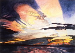 ©1996 Jan Aronson Amazonian Sunset #8 Watercolor on Paper 10x14