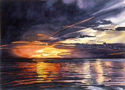 ©1996 Jan Aronson Amazonian Sunset #9 Watercolor on Paper 10x14