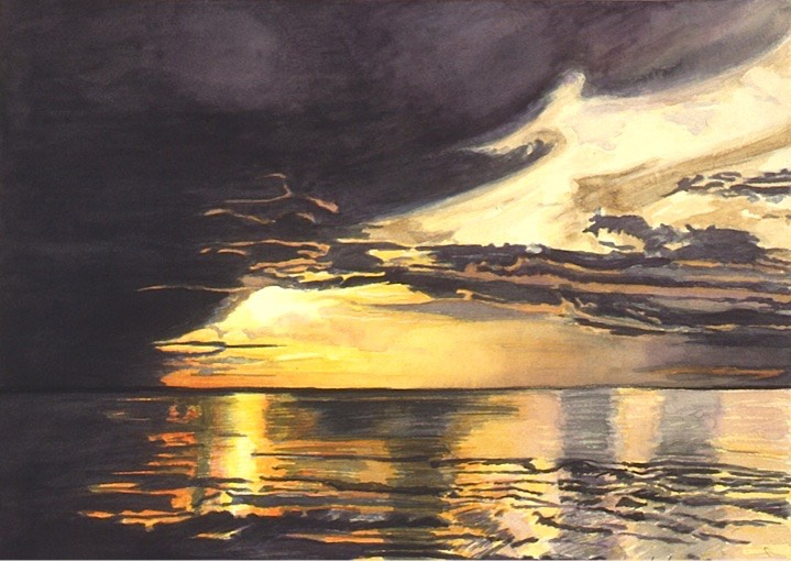 ©1996 Jan Aronson Amazonian Sunset #5 Watercolor on Paper 10x14