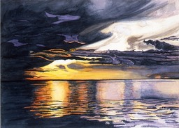 ©1997 Jan Aronson Amazonian Sunset #10 Watercolor 10x14