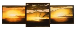©1997 Jan Aronson Cloud Triptych #6 Oil On Canvas 16x48SOLD