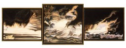 ©1997 Jan Aronson Cloud Triptych #5 Oil On Canvas 16.5x48.5