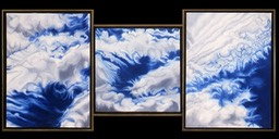 ©1999 Jan Aronson Cloud Triptych #33 Oil On Canvas 23.5x51.5