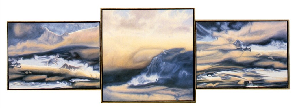 ©1999 Jan Aronson Cloud Triptych #20 Oil on Canvas 37.5x112 SOLD