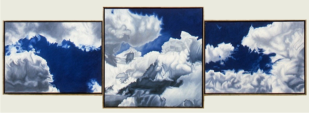©1999 Jan Aronson Cloud Triptych #23 Oil On Canvas 37.5x112 SOLD