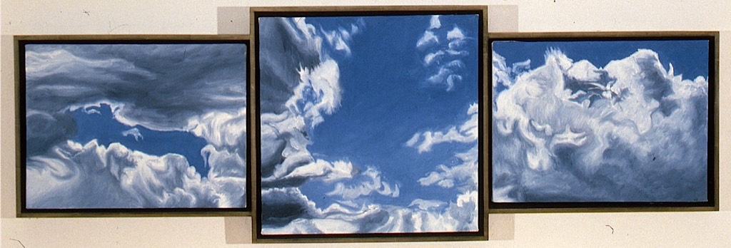 ©1999 Jan Aronson Cloud Triptych #25 Oil On Canvas 16x48 SOLD