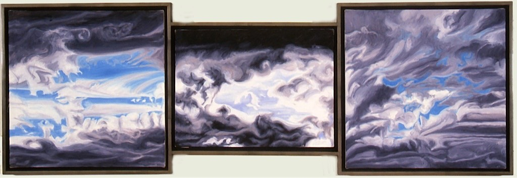 ©1999 Jan Aronson Cloud Triptych #32 Oil On Canvas 17.5x51.5 SOLD