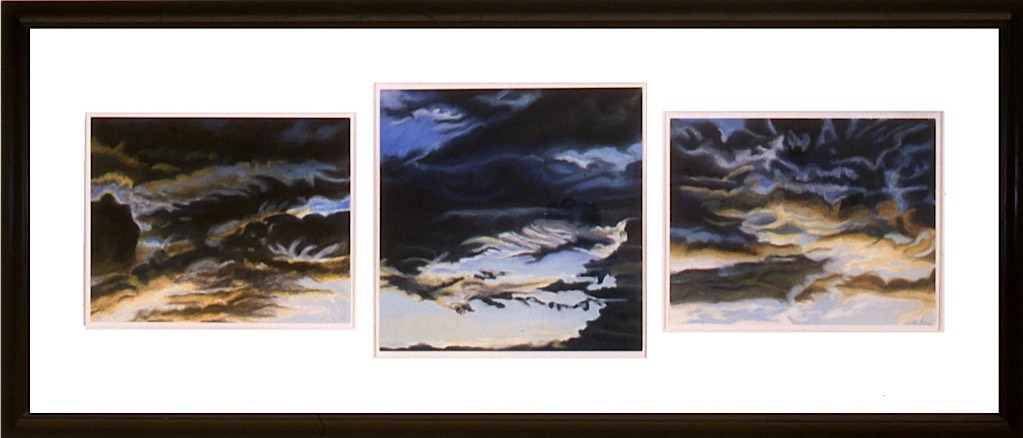 ©2000 Jan Aronson Cloud Triptych #36 Oil On Canvas 38x112