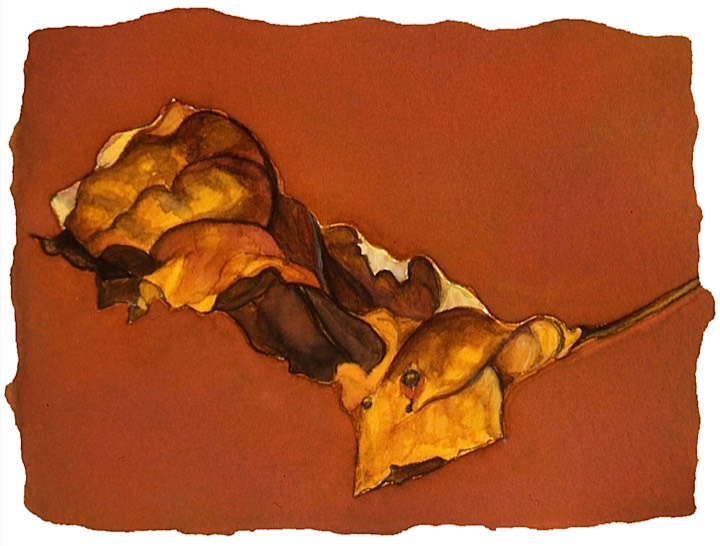 ©2001 Jan Aronson Leaf #12 Watercolor Paper 6.25x8.5