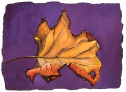 ©2001 Jan Aronson Leaf #7 Watercolor Paper 6.25x8.5 SOLD