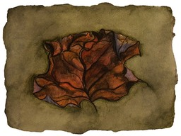 ©2001 Jan Aronson Leaf #9 Watercolor Paper 6.25x8.5 SOLD